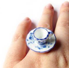 That Vintage - Tea Cup & Saucer Ring - Gracey. $21.00, via Etsy. So freaking cool