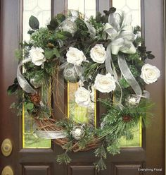 CHRISTMAS ROSES WREATH Christmas Décor by EverythingFloral on Etsy, $140.00