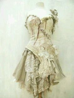 Distressed, vintage, lace patch strapless dress. Very fearie!