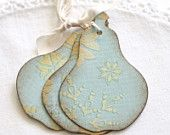 Christmas Gift Tags Folk Art Style Pear Handmade - Folk Art Christmas