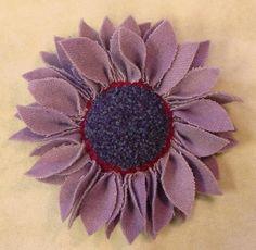 Purple Wool Flower Pin, J383. $22.00, via Etsy.
