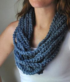 Blue Scarf Necklace .. Blue Infinity Scarf .. Blue Scarf .. Knit Chain Scarf .. Boho Necklace .. Indie Clothes .. Cute Scarf .. Circle Scarf...