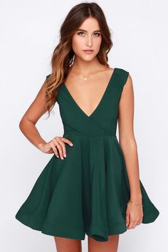 All the Right Moves Forest Green Skater Dress at Lulus.com! I REALLY want this dress.