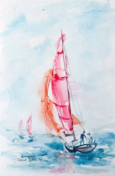 Original watercolor sailboats in the wind by MartineSaintEllier