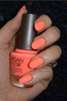 The Fancy Side: Morgan Taylor Neon Collection, ☆ Don't Worry, Be Brilliant ☆ ...  a bright neon coral nail polish that tends to lean orange in certain lighting conditions