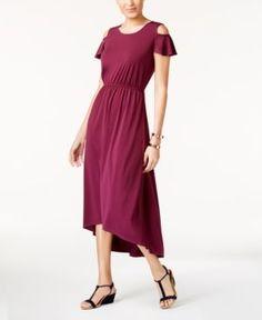 Ny Collection Petite Cold-Shoulder High-Low Dress - Purple P/M
