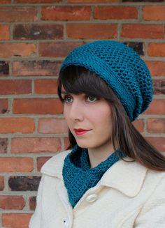 HAT  SLOUCHY Hat  Crochet Hat in Teal Blue  Beanie by AntikaModa,