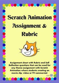Scratch Animation Assignment Sheet and Rubric Package for students to learn basic computer programming skills, understand importance of order of operations and increase understanding of Cartesian Plane. Can be used with any theme or link to other subjects focus at the time.