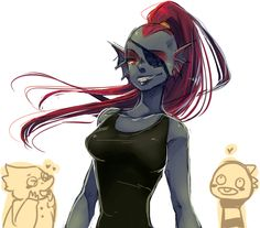 Undyne (With Alyphys & Monster Kid) - Undertale