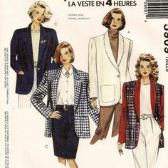 An Unlined or Lined, Loose Fitting, Single Button Jacket with Collar Variations Pattern