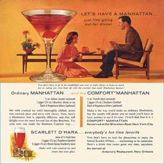 This was my Grammy's favorite Drink. Every evening around 5 o'clock she and her best friend would toast to their friendship.  #vintage 1960s food drinks cocktails recipes