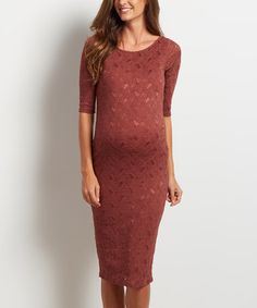 Look at this #zulilyfind! PinkBlush Brown Lace Bodycon Maternity Dress #zulilyfinds