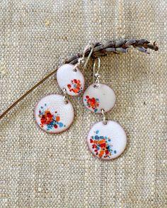 Long dangle earrings white multicolor earrings copper by alery
