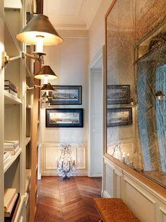 Hall-Pavillon de Madame, Paris design by Jacques Grange the floors! Hallway Decorating, Interior Decorating, Interior Design, Interior Ideas, Interior Architecture, Bookcase Lighting, Hall Lighting, Bookshelf Styling, Lighting Ideas
