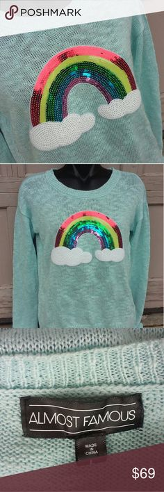 Kawaii Sequin Rainbow Sweater So Cute New no tags Almost Famous Sweaters