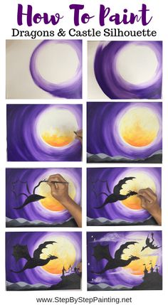 How To Paint Dragons & Castle Silhouette - Step By Step Painting Learn how to paint a dragon for beginners with acrylics on canvas. This step by step painting tutorial includes a FREE traceable and easy instructions. Easy Canvas Painting, Simple Acrylic Paintings, Acrylic Painting Tutorials, Diy Painting, Acrylic Art, Galaxy Painting Acrylic, Painting Shower, Watercolor Galaxy, Canvas Canvas