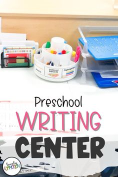 The Writing Center in a preschool classroom is a place for children to explore writing utensils, write on different paper surfaces and express themselves through writing. See what is inside my Writing Center. Preschool Centers, Preschool Writing, Preschool Classroom, Play Based Learning, Learning To Write, Learning Centers, Cool Writing, Writing Paper, Classroom Organization