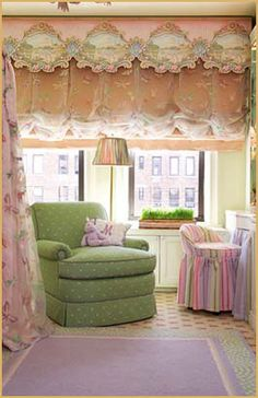 From a carved fantasy mural and be-bowed chandelier, to flower strewn carpet, it's a top-to-bottom fairy tale room for a budding ballerina.