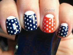 Pretty Polka Dot Nails - I like this but with a red nail instead