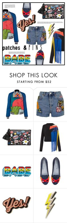 """Patch It, Pin It, Wear It"" by as0f1am ❤ liked on Polyvore featuring Mira Mikati, Topshop, Anya Hindmarch, Christopher Kane, Chiara Ferragni, stickers, AnyaHindmarch, polyvoreeditorial and patchesandpins"