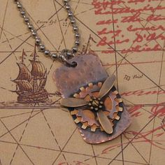Antiqued Copper Steampunk Airship Pirate Propeller Necklace | CirclesofStone - Jewelry on ArtFire $18.00 #artfire