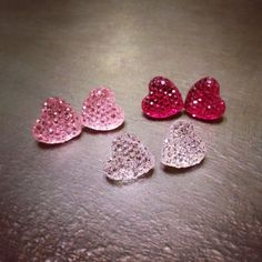 New to jennascifres on Etsy: PINK Sparkly Rhinestone Heart Earrings  - Hypoallergenic Nickel Free - Great for Sensitive Ears - Super Sparkly! (10.00 USD)