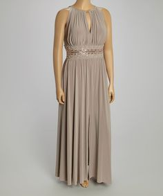 Take a look at the R&M Richards Taupe Beaded Keyhole Empire-Waist Gown - Plus on #zulily today! Mother of the bride dress