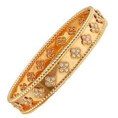Van Cleef & Arpels Diamond Gold Perlee Clover Bangle Bracelet