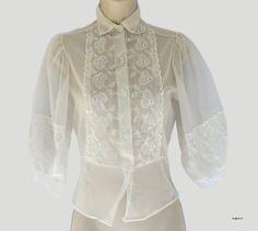 Vintage des années 1950 de Blouse blanche pure par DustyDesert