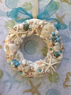 Seashell Coastal Wreath  Beach Themed Shell by BeachBasket on Etsy