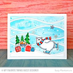 Handmade card from Suzy Plantamura featuring Birdie Brown Beast Friends and Polar Bear Pals stamp sets and Die-namics, and Horizontal Snow Drifts Cover-Up Die-namics #mftstamps