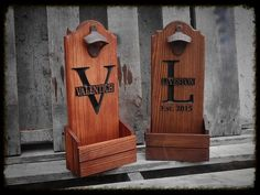 Beer bottle opener with cap catcher personalized  by MVwoodworks