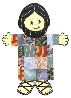 Joseph's Coat : a template for Joseph and his coat. Use bright colored paper or wall paper samples and either cut out into squares or have the kids cut out and glue on.