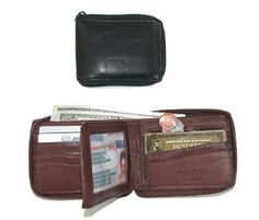 New Paul /& Taylor Personalized Monogram Leather Removable Passcase Bifold Wallet