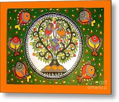A Small Island-madhubani Painting Metal Print by Neeraj kumar Jha. All metal prints are professionally printed, packaged, and shipped within 3 - 4 business days and delivered ready-to-hang on your wall. Choose from multiple sizes and mounting options. Madhubani Art, Madhubani Painting, Tantra Art, Fabric Painting, Painting Metal, Painting Canvas, Indian Folk Art, Indian Art Paintings, Turkish Art