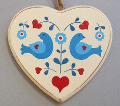 Wooden Folk Art Heart Hanging Christmas Decoration ~ Love Hearts Birds Flowers | eBay