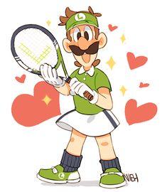 My tennis sweetheart💚 Mario Bros., Mario And Luigi, Mario Party, Super Mario Brothers, Luigi And Daisy, Weegee, Super Mario Art, Nintendo Characters, Super Smash Bros