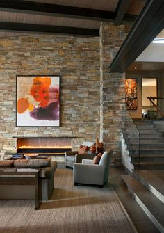 Fireplace Love this stone color and pattern also like the two colors stain on ceiling Desert Mountain Contemporary 1