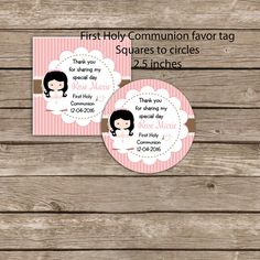 First Communion printable favor tags - Digital file - Square to circles 2.5 inches tag- 1st Communion Invitation -Primera comunion by okprintables, $5.30 EUR