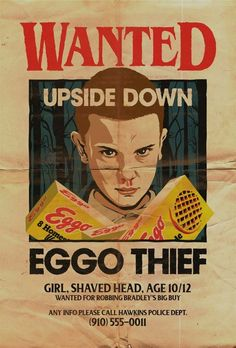Wanted 'Eggo Thief' Poster Stranger Things Aesthetic, Stranger Things Funny, Stranger Things Netflix, Foto Poster, Poster Wall, Poster Prints, Photographie Portrait Inspiration, Room Posters, Vintage Cartoon