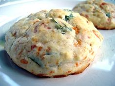 Basil & mozzerella drop biscuits.   I mixed in a few sun-dried tomatoes too!