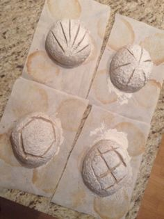 """Experimenting with scoring patterns, each composed of 6 strokes. Jacqueline Colussi  made these loaves for the January 2014 Second Sunday """"Taste-and-Tell"""" with Chicago Amateur Bread Bakers."""