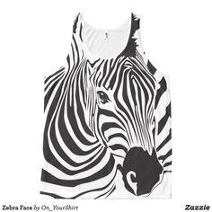 Shop Zebra Face All-Over-Print Tank Top created by On_YourShirt. Zebra Face, Printed Tank Tops, Shirt, Prints, Animals, Design, Women, Fashion, Moda