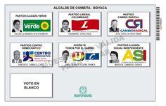 Tarjetón de elección para Alcalde de Cómbita