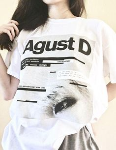 Agust d t-shirt 방탄소년단 bts suga min yoongi mixtape fanmade Kpop Fashion, Korean Fashion, Fashion Outfits, Bts T-shirt, Kpop Outfits, Cute Outfits, Bts Clothing, Bts Inspired Outfits, Kpop Merch