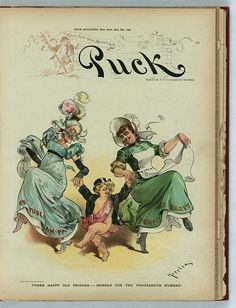 """Three Happy Old Friends"", PUCK magazine, May 6th, c.1896. Puck dancing with two elderly ladies, who's dresses are labeled, ""Republican Party"", and ""Democratic Party"". Illustrator: Udo J. Keppler. ~ {cwl} ~ (Image: LOC)"