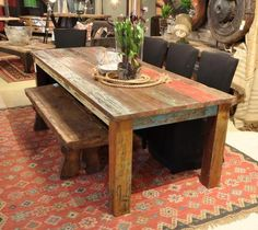 """107"""" Vintage Dining Table Multicolor Warehouse Special Made w Solid Reclaim Wood 