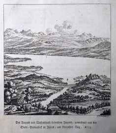 1773 J.B. Bullinger (copper engraving) Zürichsee Neujahrsblatt der…