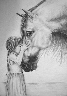Mounted art print x is of a pigtailed little girl in summer sundress, with horse. Entitled The Kiss by Lesley Harrison; with quote from I Corinthinans Love is patient, Love is kind. Love is Patient Mounted Print by Lesley Harrison Pretty Horses, Horse Love, Beautiful Horses, Animals Beautiful, Cute Animals, Horseback Riding Lessons, Horse Drawings, Horse Pencil Drawing, Pencil Drawings Of Animals