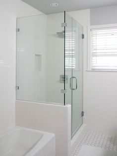 Do we want to open soffet and do this open glass at top? Bathroom Redesign, Remodel, Bath Renovation, New Bathroom Ideas, Bathroom Renovations, Bath Shower Screens, Downstairs Bathroom, Bathrooms Remodel, Bathroom Design